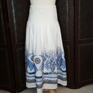 Coldwater Creek White & Blue Fully Lined Skirt
